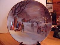 VTG Collector Plate HOLIDAY SKATERS 1987 W. L. George Fine China Limited Edition