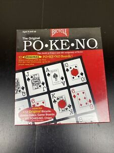 Original Pokeno Game by Bicycle Red Box 12 Unique Boards Brand New