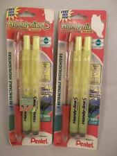 Pentel Handy Line Slim Retractable Refillable Highlighter  & Red Pen 2 Packs