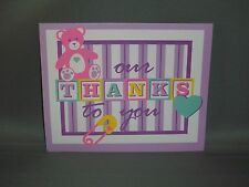 Vintage Baby Thank You Cards w/Envelopes - Baby Blocks/Stripes - Set of 8 - New