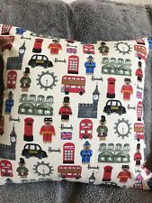 harrods, London, cream cushion cover, cotton with grey velvet envelope back