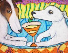 Borzoi Drinking a Martini Dog Outsider Pop Folk Vintage Art 8 x 10 Signed Print