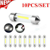 10pcs COB C5W 12V Glass Lens LED Festoon Dome Light Lamps Bluds 36mm Auto Car ZZ