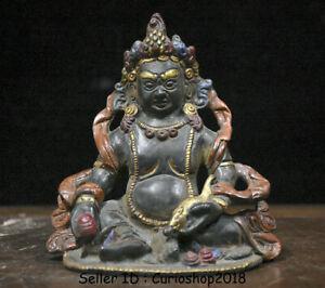 "4.8"" Old Tibet Buddhism Bronze Painting Yellow Jambhala Wealth God Buddha Statue"
