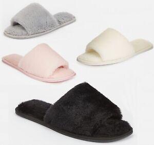 Ladies Womens Indoor Faux Fur Open Toe Mule Slipper Sliders Size 3 4 5 6 7 8