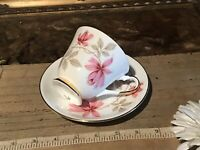 Ainsdale Bone China Tea Cup & Saucer Pink Floral England
