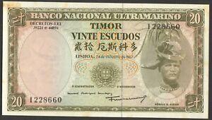 20 ESCUDOS BANQUE NACIONAL ULTRAMARINO TIMOR PICK-26 1967 aUNC