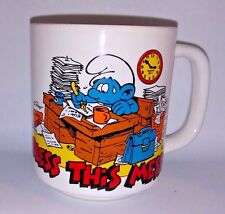 VTG Smurf Coffee Mug Bless This Mess Peyo  Smurfs Coffee Mug 1980's Cartoon