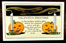 JACK O'LANTERNS CANDLES Whitney HALLOWEEN Shadows come Fantasy Postcard c.1910