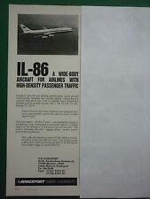 8/82 PUB AVIAEXPORT URSS MOSCOU CCCP IL-86 AEROFLOT SOVIET AIRLINES ORIGINAL AD