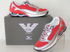NIB ARMANI SPORT SILVER LEATHER RED MESH LACE UP INFINITY SNEAKERS 9 42