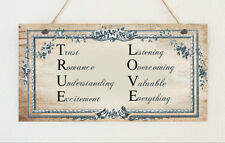 Beautiful Hand Made Shabby True Love Romance Chic Wood Plaque Sign Present Gift
