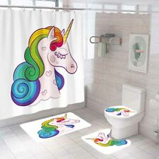 Unicorn Shower Curtain Bathroom Rug Set Bath Mat Non-Slip Toilet Lid Cover