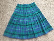 "Vintage Koret Of California Wool Pleated Skirt 27"" Waist Green Blue Plaid"