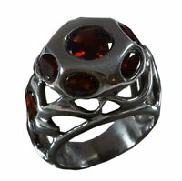 Handmade 925 Solid Sterling Silver Ring Natural Garnet Stone US Size 7.25 R400