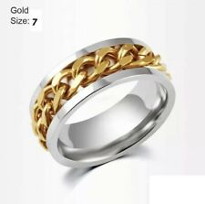 Men's Ring Spinner Silver and Black UK N / US 7
