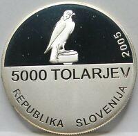 SLOVENIA 5000 SILVER tolars 2005 PROOF FALCON Sport Sun UNC Scarce
