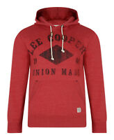 Lee Cooper New Men's Hooded Sweatshirt Tadworth Fleece Hoodie Top Red Marl