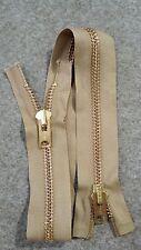 "USA VTG NOS 2-Way Jacket Zipper TALON#10 Separating Metal BRASS 26"" G.TAN/COTTON"