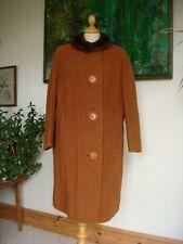 "Original Vintage 1960's ""Julius"" All Wool Cinnamon Coat + Fur Collar Bust 44"""