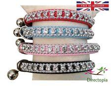 UK Standard Safety Cat Collar Crystal Diamante Rhinestone Safety Elastic & Bell