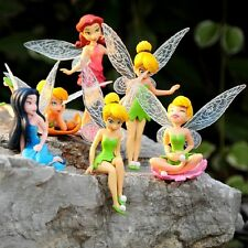 6 Tinkerbell Fairy Princess Miniature Dollhouse Figure wing Toy doll cake topper