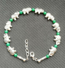 Ladies Bangle Tibetan Silver Elephant Green Jade Bead Bracelet Jewelry
