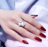 Stunning AAA+ 7-8mm real natural south sea white bread pearl ring 925 silver(w)