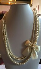 """Silver Tone 26"""" Multi Layered Glass Faux Pearl Bow Necklace (A536)"""