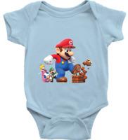 Infant Baby Rib Bodysuit Clothes Gift Super Mario Giant Mega Power Up Mushroom