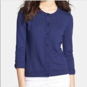 Kate Spade Somerset Cardigan Sweater Small S Navy Blue Bow Sleeve Cashmere Blend