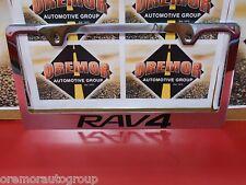 NEW Toyota Rav4 Chrome License Plate Frame Engraved Block Letters (set of 2)