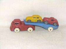 1939 BARCLAY CLASSIC SERIES CAR TRANSPORT, RED CAB WITH BLUE TRAILER, SLUSH LEAD