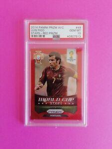 2014 Brazil W.Cup Panini RED Prizm Luis Figo No.49 42/149 Portugal Only PSA 10.