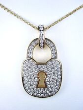 "with Swarovski Crystal 16-18"" Length 0812 D'Orlan Gold Plated Large Lock Pendant"