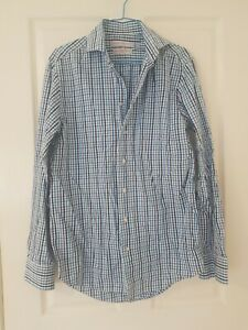Mens Rhodes and Beckett Blue White Check Shirt Size Large