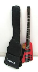 BADAAX Headless Bass Guitar with Carry Case & Leads 4 String Musical Instrument