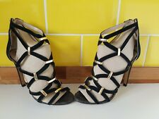 River Island Black Suede Gladiator Strappy Stiletto Heel Sandals UK 4 Party Gold