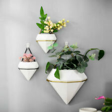 Home Wall Hanging Plant Flower Pots Ceramic Planter Metal Stand Box Holder Decor