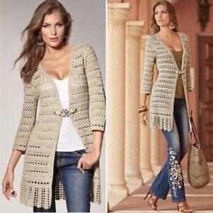 Boston Proper Jeweled Crochet Duster Tan Size XS