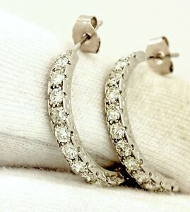 Platinum 1ctw round brilliant diamond half hoop huggie earrings vintage estate