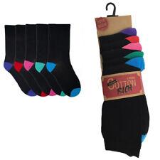 5 Pairs Tom Franks Ladies Cotton Rich Everyday Socks Black Contrasting Heel Toe