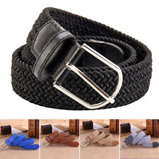 Waist Belt Leather Canvas Woven Elastic Stretch Pin Buckle Black Mens Womens