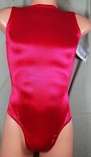 NWT Pumpers Men's Red Shiny Satin Boatneck Thong Leotard Bodysuit   Adult S