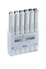 COPIC SKETCH MARKERS - 12 COOL GREY SET - REFILLABLE WITH COPIC VARIOUS INKS