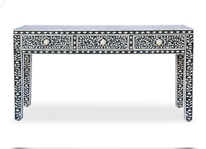 Handcrafted Bone Inlay Console Table, Indo-Arabic Floral Bone Inlay Consol Table