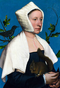 Hans Holbein the Younger - A Lady with a Squirrel and a Starling, Canvas Print