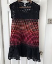 M Missoni Scallop Weave Knit Mini Dress Black Red Orange Sz 42 UK 10/12