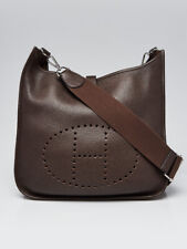 Hermes Chocolate Clemence Leather Evelyne GM III Bag