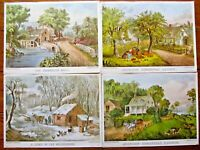 (4) VTG STAPCO, NY CURRIER IVES SUMMER*AUTUMN*HOME*ROADSIDE MILL LITHO IN USA